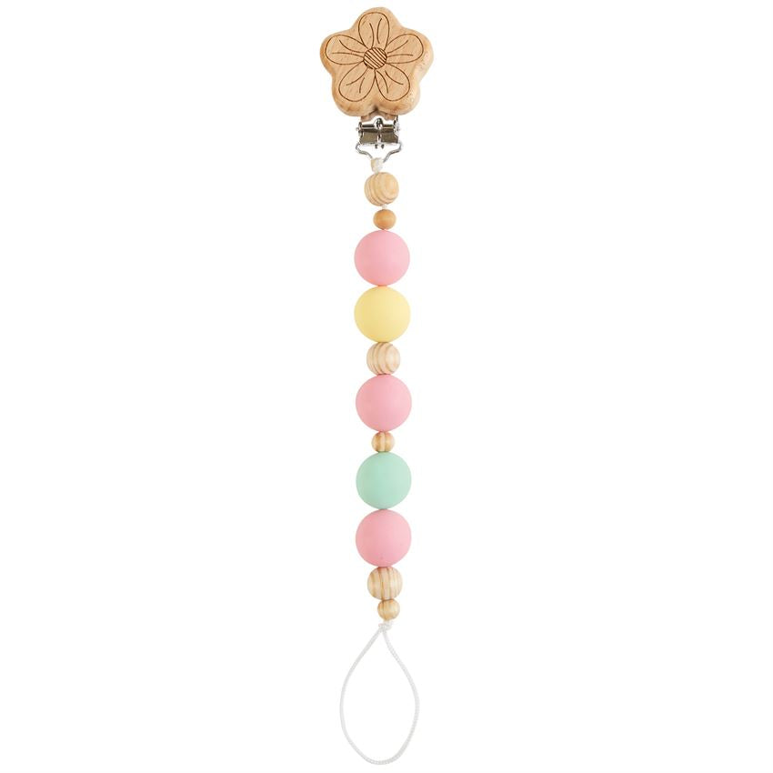 Flower Wood & Silicone Bead Pacy Clip - Posh Tots Children's Boutique