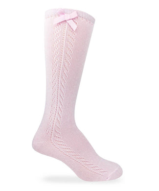 Pointelle Bow Knee High Socks, Pink - Posh Tots Children's Boutique