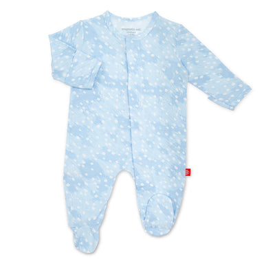 Blue Doeskin Magnetic Footie - Posh Tots Children's Boutique