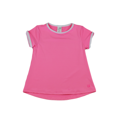 Bridget Basic Tee - Pink w/White - Posh Tots Children's Boutique