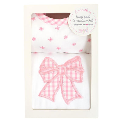 Burp & Bib Box Set - Pink Bow - Posh Tots Children's Boutique