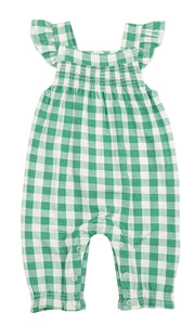 Green Gingham Smocked Front Coverall - Posh Tots Children's Boutique