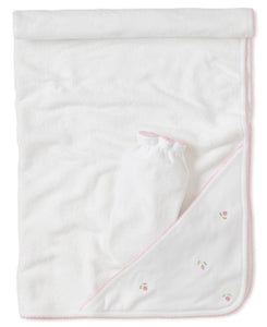 Garden Roses Hooded Towel with Mitt - Posh Tots Children's Boutique