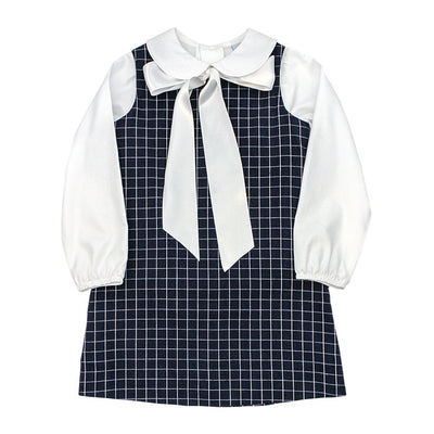 Navy Windowpane Liza Dress - Posh Tots Children's Boutique