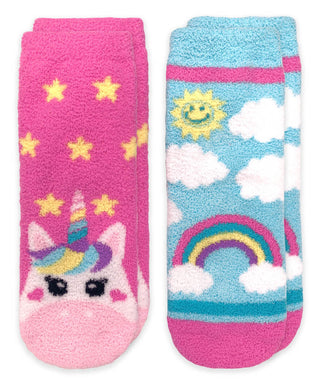 Unicorn & Rainbow Fuzzy Non-Skid Slipper Socks, 2 Pair - Posh Tots Children's Boutique