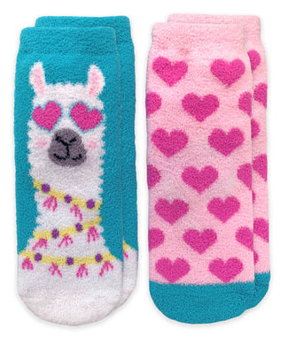 Llama & Hearts Fuzzy Non-Skid Slipper Socks 2 Pair - Posh Tots Children's Boutique