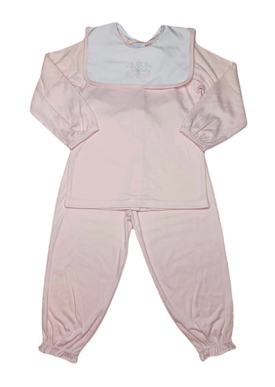 Flower L/S Knit Pant Set - Pink - Posh Tots Children's Boutique