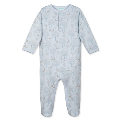 Henley Footie - Deer & Appletrees on Baby Blue - Posh Tots Children's Boutique