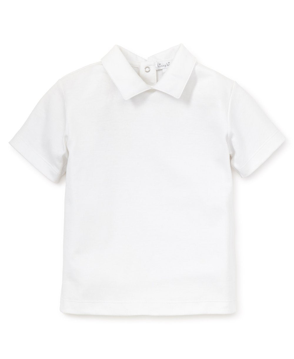 White S/S Toddler Boys Collar Tee - Posh Tots Children's Boutique