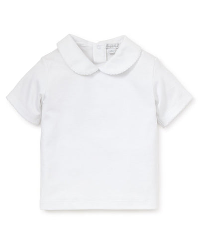 White S/S Toddler Girls Collar Tee - Posh Tots Children's Boutique
