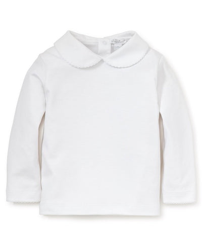 White Basic L/S Girl's Knit Tee - Posh Tots Children's Boutique