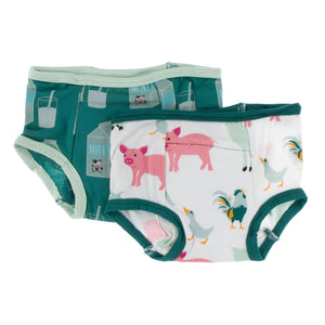 Training Pants Set - Ivy Milk & Natural Farm Animals - Posh Tots Children's Boutique