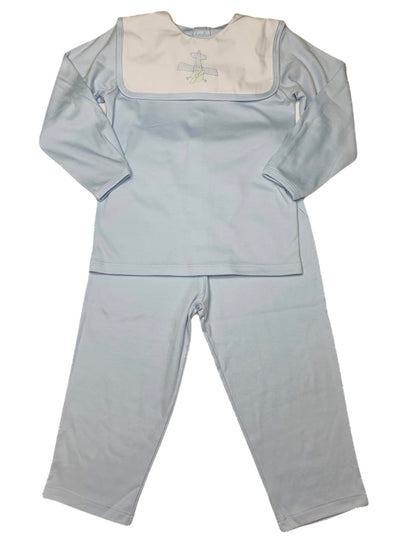 Airplane L/S Knit Pant Set - Blue - Posh Tots Children's Boutique