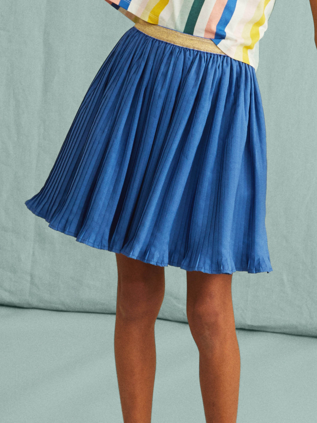 Metallic Waist Pleated Skirt - Posh Tots Children's Boutique
