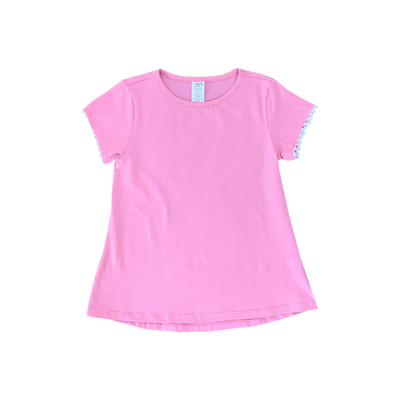 Bridget Basic Tee - Pink Ric Rac - Posh Tots Children's Boutique