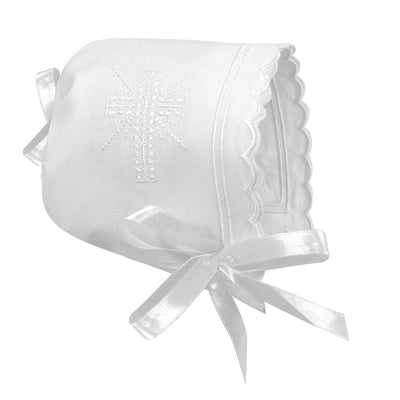 Cross Bonnet - Scallop Edge - Posh Tots Children's Boutique