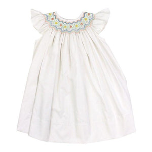Smocked Pastel Flower Bishop Dress - Posh Tots Children's Boutique