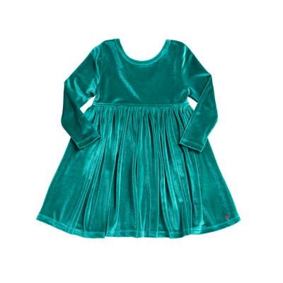 Steph Dress - Turquoise Velour - Posh Tots Children's Boutique