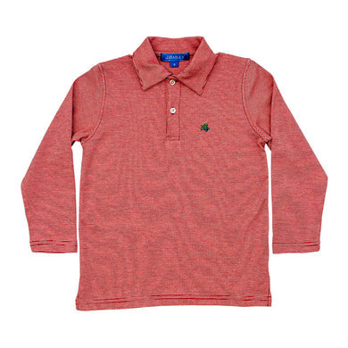 Long Sleeve Red Striped Polo - Posh Tots Children's Boutique