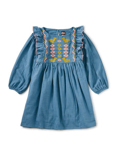 Embroidered Ruffle Dress - Aegean Blue