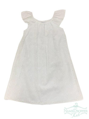 White Eyelet Dress w/Flutter Sleeve