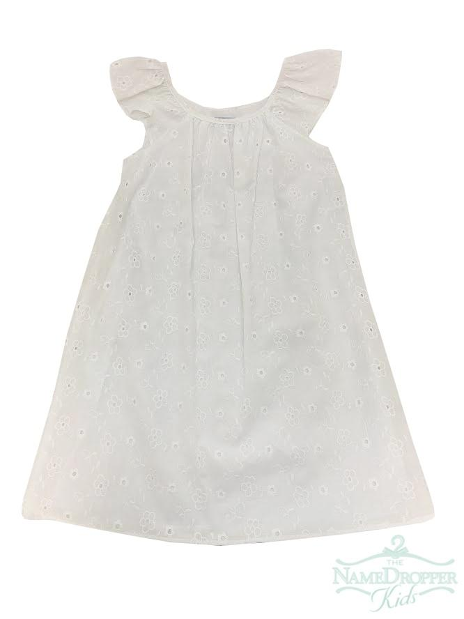 White Eyelet Dress w/Flutter Sleeve - Posh Tots Children's Boutique