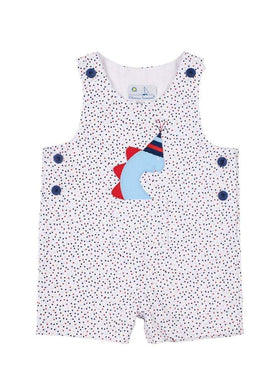 Pique Shortall With Party Dino - Posh Tots Children's Boutique