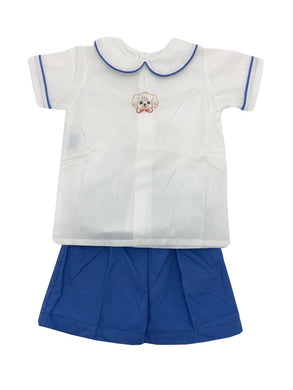 Blue Puppy Short Set