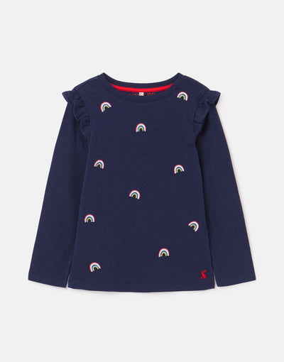 Joya Frill Shoulder Top - Navy Icon - Posh Tots Children's Boutique