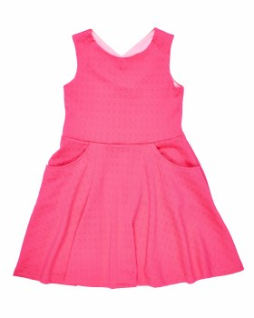 Coral Textured Dress - Techno - Posh Tots Children's Boutique