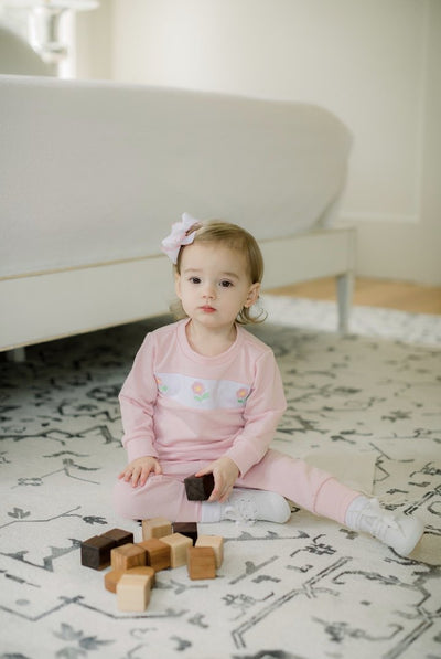 Sweatsuit - Lt Pink/Flower - All Day Play - Posh Tots Children's Boutique