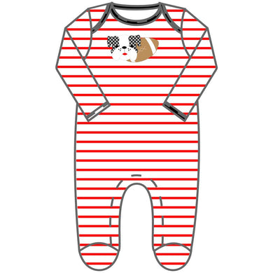 Love Bulldog Applique Footie - Posh Tots Children's Boutique