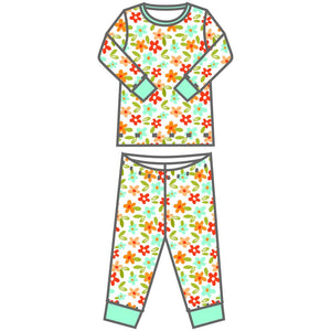 Fall Flowers Long Pajama - Posh Tots Children's Boutique