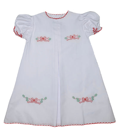 Red & Green Bow Embroidered Daygown - Posh Tots Children's Boutique
