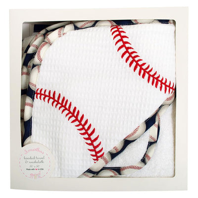 Box Hooded Towel Set - Baseball - Posh Tots Children's Boutique