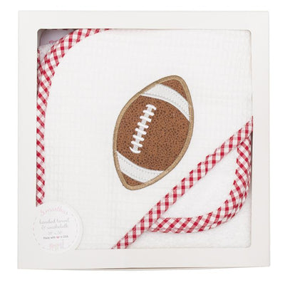 Boxed Hooded Towel Set - Red Football - Posh Tots Children's Boutique