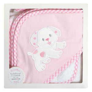 Boxed Hooded Towel Set - Pink Puppy - Posh Tots Children's Boutique