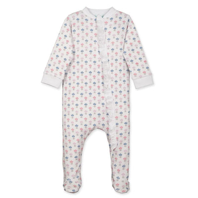 Zipper Footie with Ruffle - Penelope on White - Posh Tots Children's Boutique