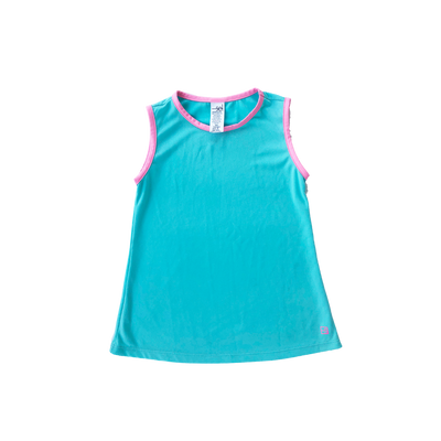 Tori Tank - Turq/Pink - Posh Tots Children's Boutique