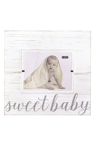 """Sweet Baby"" Wood Photo Frame, Gray - Posh Tots Children's Boutique"