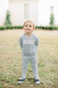 Airplane Embroidered Sweatsuit - All Day Play - Posh Tots Children's Boutique