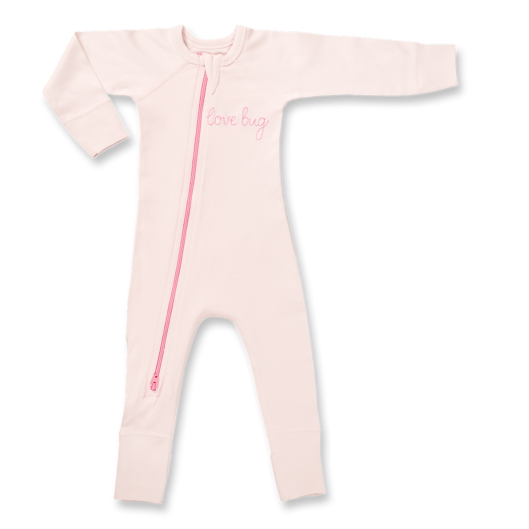 Lovebug Pink-Zip Romper - Posh Tots Children's Boutique