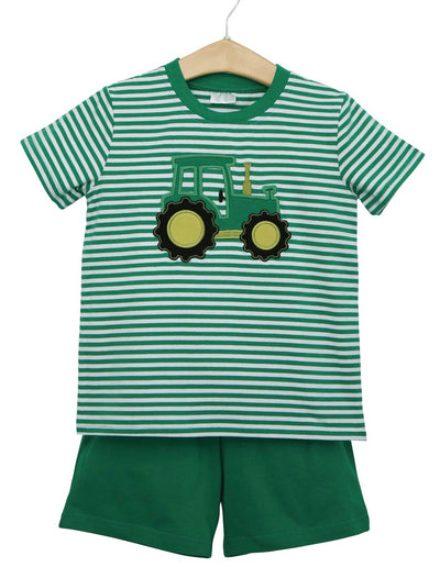 Tractor Short Set - Posh Tots Children's Boutique