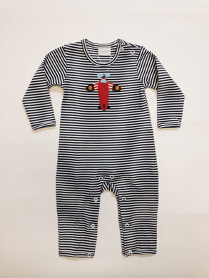 Striped Wing Airplane Coverall - Posh Tots Children's Boutique
