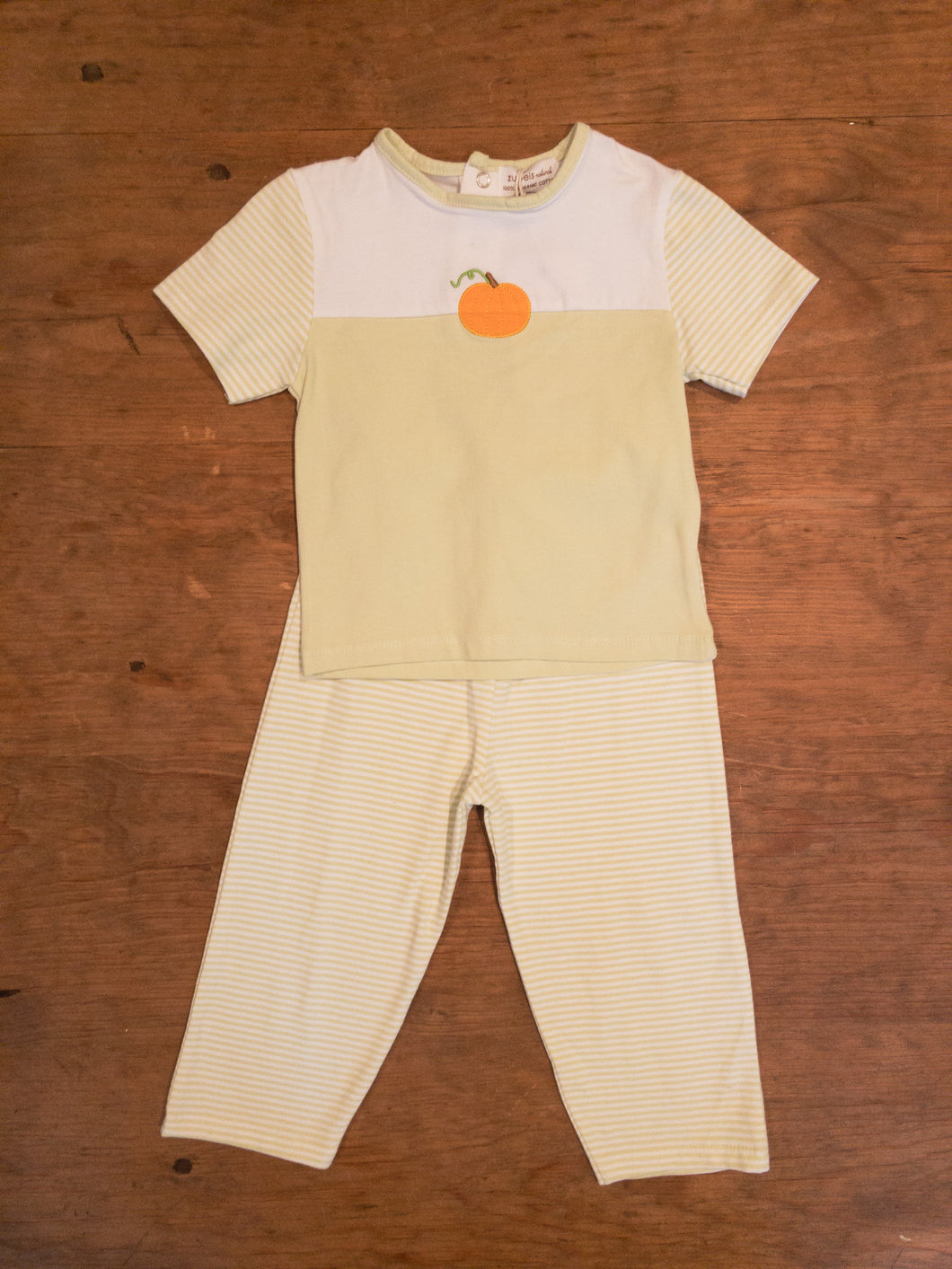 2 pc Light Green Pant Set w/Pumpkin