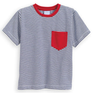 Navy/White Stripe Mac Tee - Posh Tots Children's Boutique