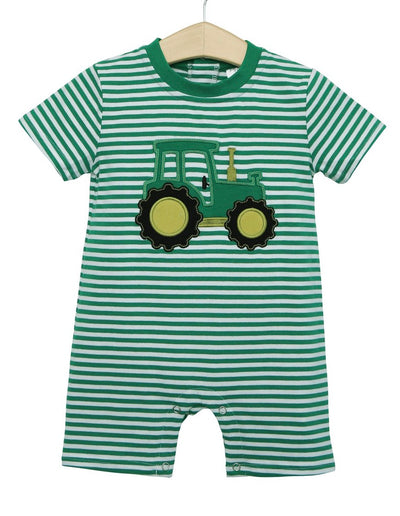 Tractor Romper - Posh Tots Children's Boutique