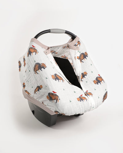 Muslin Car Seat Canopy, Boy - Posh Tots Children's Boutique