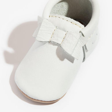 Mini Sole Bow Moccasin, White - Posh Tots Children's Boutique