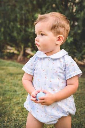 Blue Bunny Collared Bubble - Posh Tots Children's Boutique